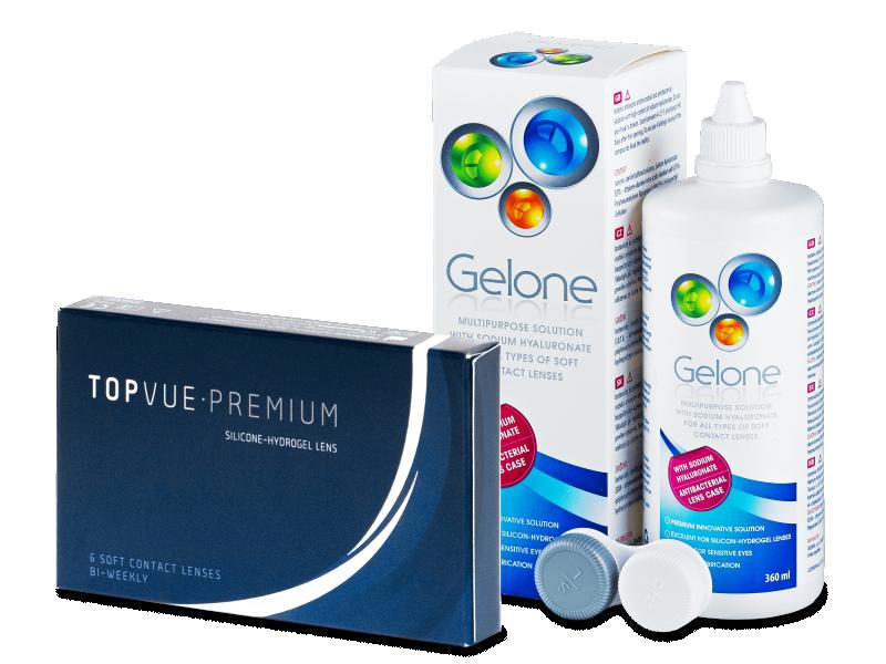 TopVue Premium (6 kom leća) + otopina Gelone 360 ml